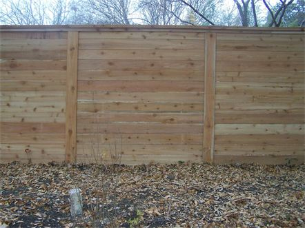 6 foot Western Red Cedar Horizontal Privacy Fence with Cedar Top Cap