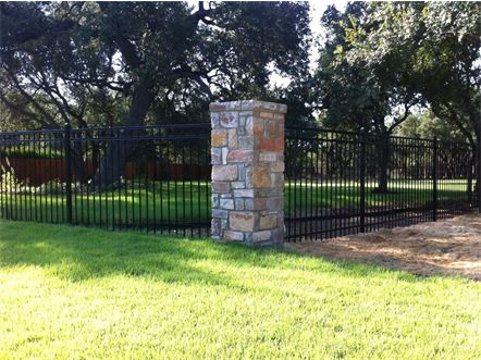 Ameristar Ornamental Steel Fence w/Stone Column