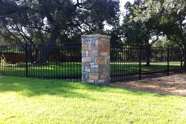 Ameristar Ornamental Steel Fencing with Stone Columns