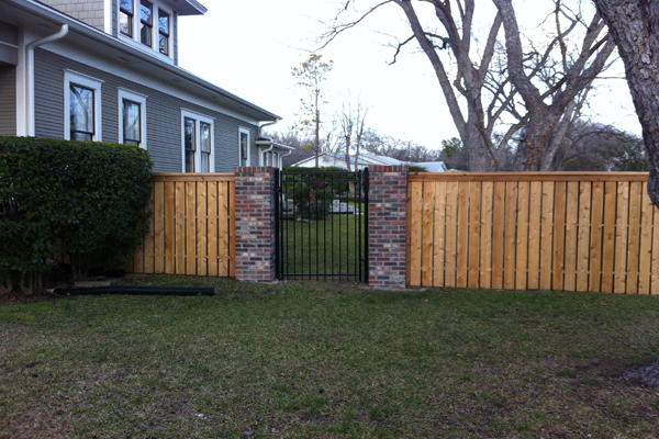 Western Red Cedar Privacy Fencing with Brick Columns