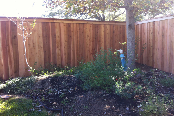 6 foot Vertical Western Red Cedar Privacy Fence with Cedar Top Cap